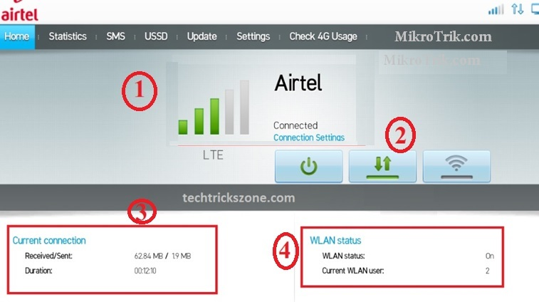 airtel 4g hotspot portable wifi router password change