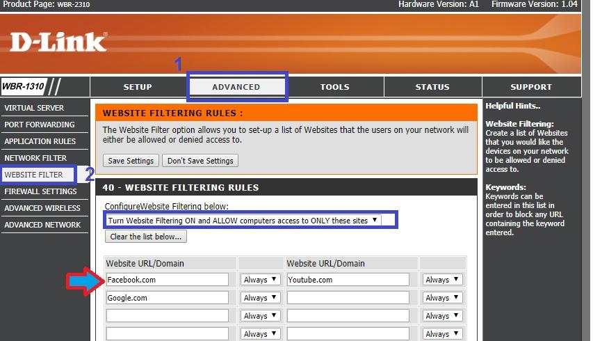 how to block websites in dlink wifi router