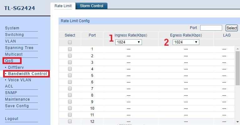 TP-link L2 Managed Switch Bandwidth limit configuration [TL