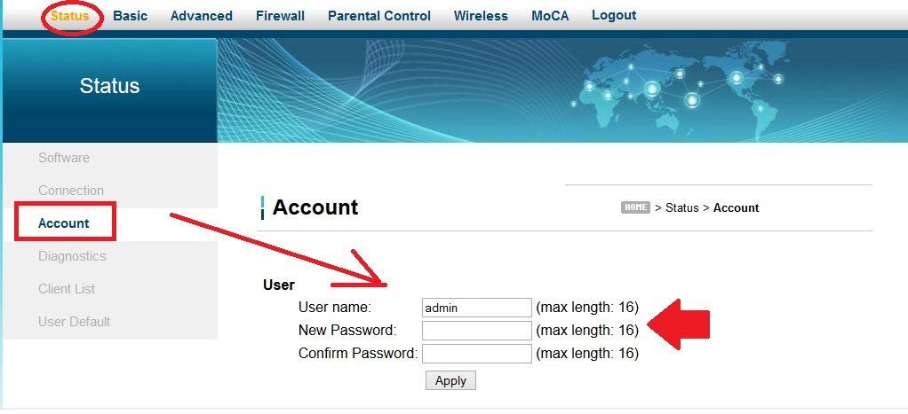 ubee cable modem default login