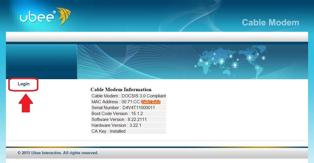 spectrum ubee modem login
