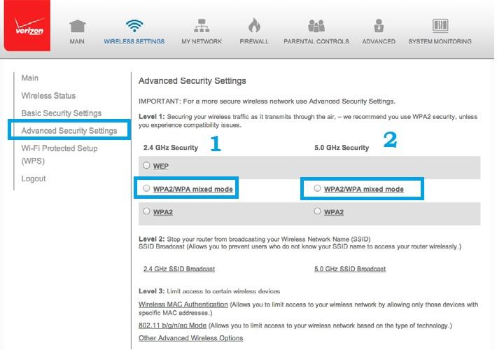 verizon fios router login page