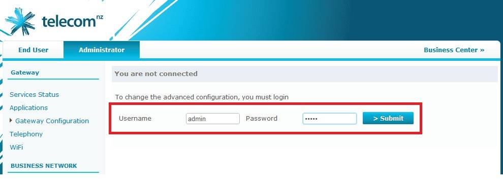 login password telecom pace router