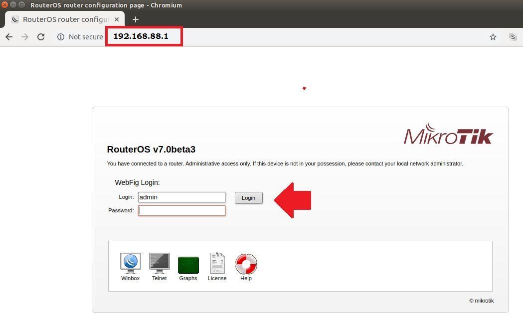 Mikrotik RB750 4.1 - Default login IP, default username