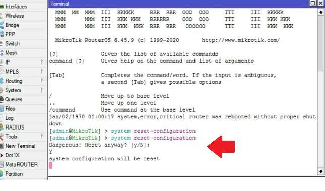 mikrotik reset configuration